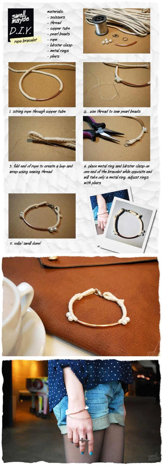 rope & pearl bracelet