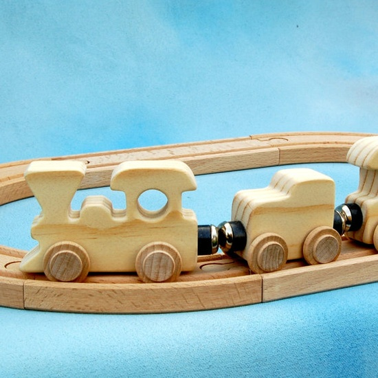 Wood Toy Train Set - 4 Cars - All Natural Wooden Toys - Compatible with Wood Track Systems - Fun for Toddlers and Children