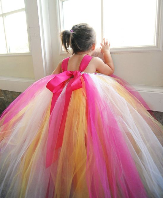 Orange, pink and white flower girl dress for wedding ~gorgeous~
