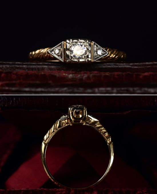 1930s Art Deco Brilliant Cut Diamond Ring