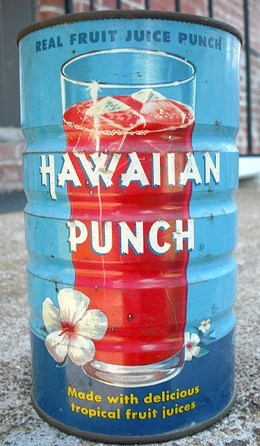 Vintage  Hawaiian Punch Tin Can - you opened a big v on the top  and a little v for a vent with and old bottle opener that had a sharp side..