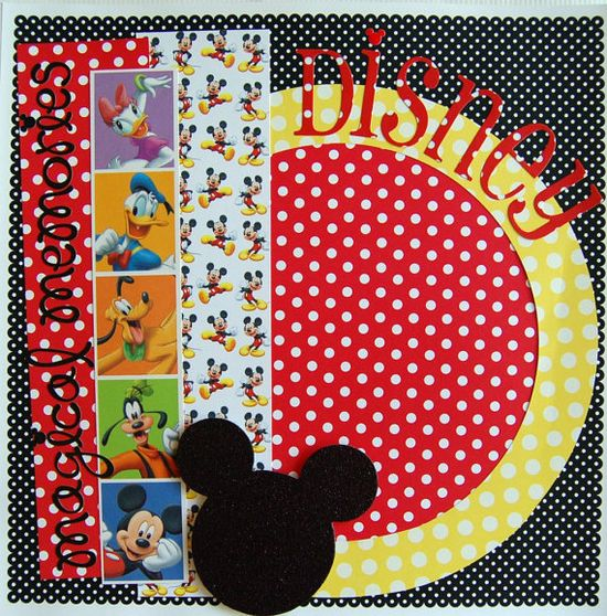 disney magical memories single 12x12 premade scrapbook page photo ready. $8.75, via Etsy.