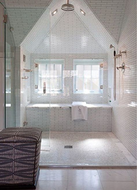 Love this master bath shower.  Want to use the layout but have tub where the seating/bench is.