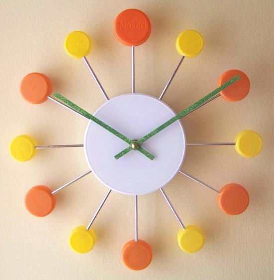 "Juicy Clock Pop: Made of recycled caps. 11""dia. $25 #Clock #Pop_Top"