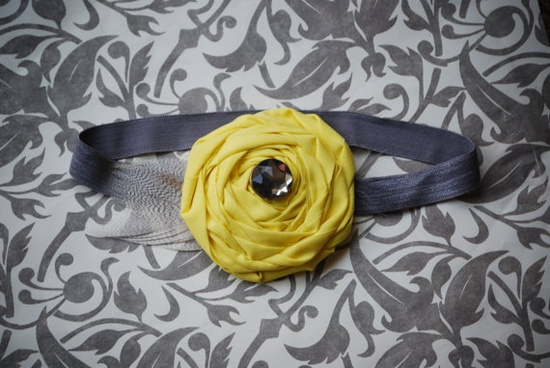 COOL CANARY  Handmade Headband Yellow Rosette w by FinnsFeathers  plz buy!!!