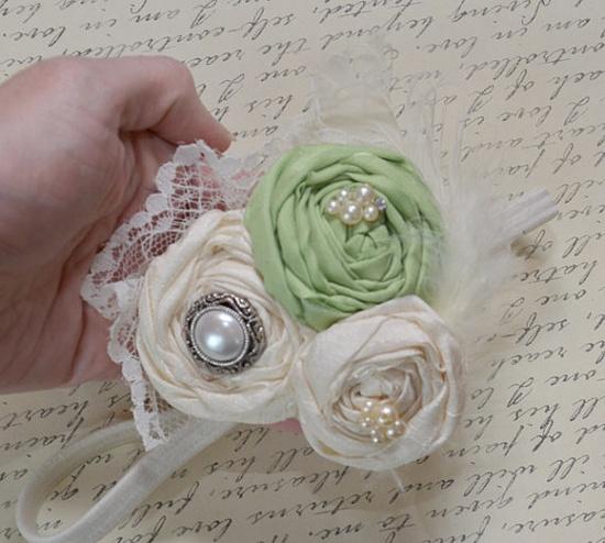 flower girl headband / Vintage WEDDING style by KrumpetsWeddings, $24.50