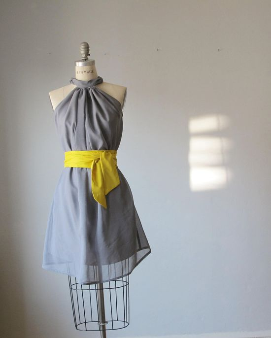 Dress Romantic Bridesmaids  Wedding  Dreamy  Grey  Rosette Soft Heavenly Chiffon gray  mustard  sash