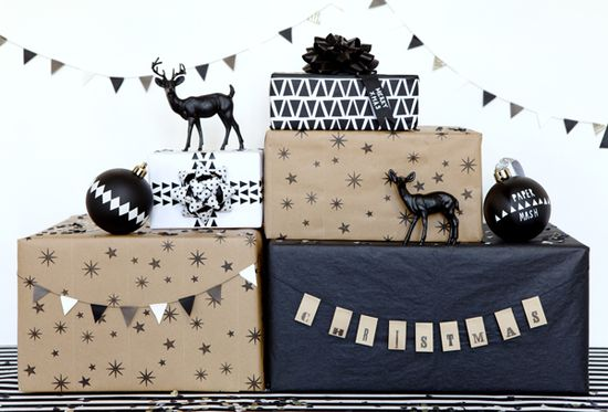 black & white Christmas packages