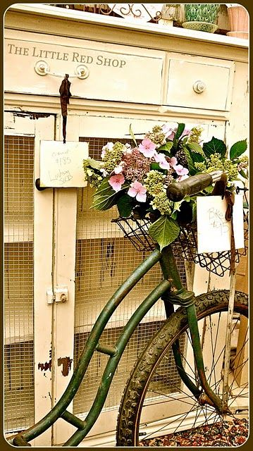 green bicycle with flowers