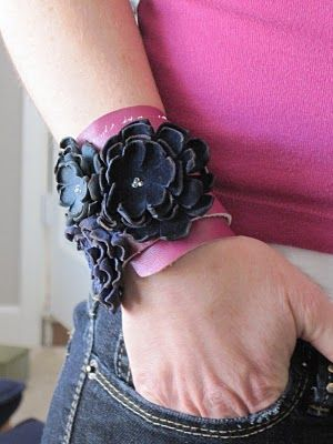 """DIY leather bracelet--a candle flame makes the leather """"curl"""". I like the leather flowers for hair accessories for the girls."""