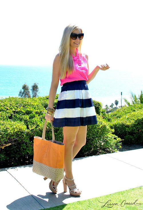 cute summer outfit #pink #stripes #beach