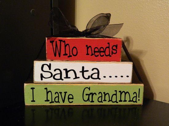 Christmas wood Blocks---Who needs santa... I have Grandma wood stacker. $8.00, via Etsy.