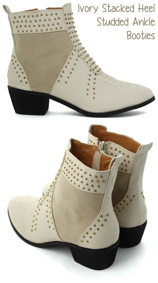 Love these Ivory Studded Ankle Booties! #Fall #Ivory #White #Fashion #Shoes #Booties