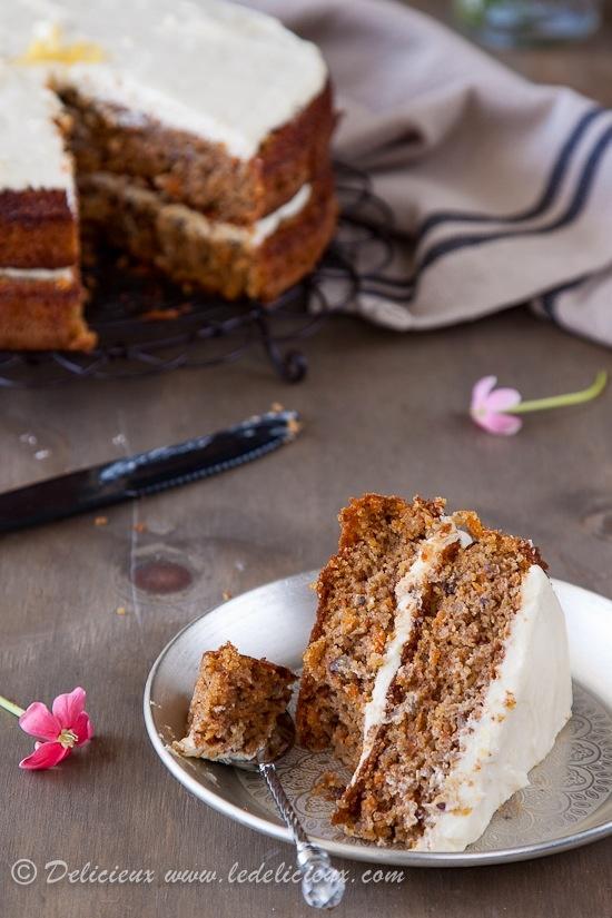 Moist Carrot Cake with Lemon Cream Cheese Frosting, gluten free