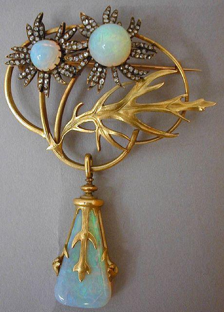 Lalique 1898 brooch - opals, gold & diamonds