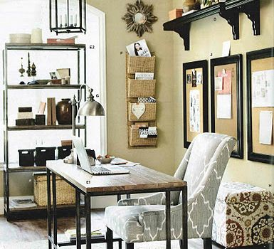 Home office love the framed bulletin boards behind the desk with contrasting shelf above