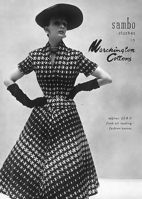 "An eye-catching, lighthearted ""x and dot"" pattern is partnered with elegant accessories in this lovely 1950s daywear look. #vintage #fashion #1950s #dress"