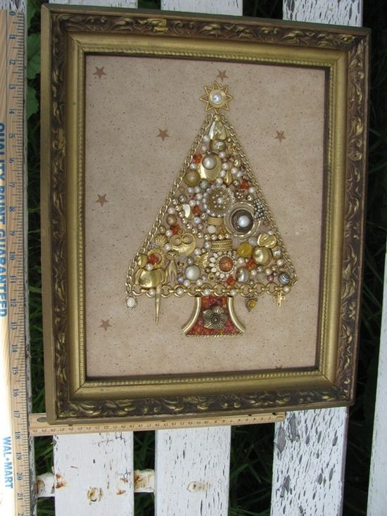 Framed Costume Jewelry Christmas Tree