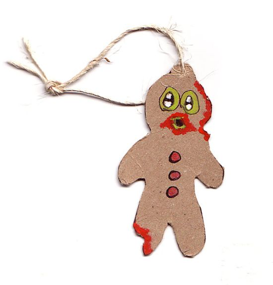 5 Hand Made Ginger Bread Zombie Ornaments by Blakenetizen on Etsy, $10.00