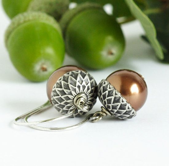 Acorn Earrings - Brown Pearls - Silver and Bronze - Fall Jewelry, Drop Earrings