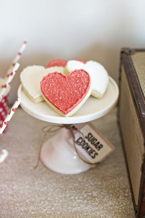 adorable heart cookies by the cookie jar