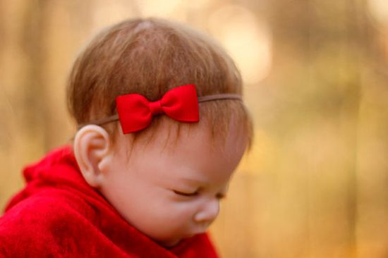 Valentine red baby girl headband, petite red bow baby headband, newborn headband, infant headband, bow headband, infant head band on Etsy, $5.99