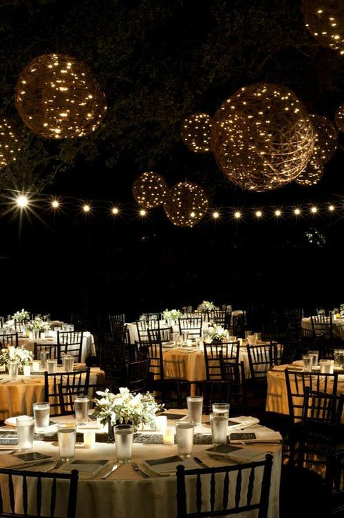 Magical Night Wedding Reception with Hanging Light Balls - Inspiring Outdoor Wedding Reception Decoration Ideas - Mackburry