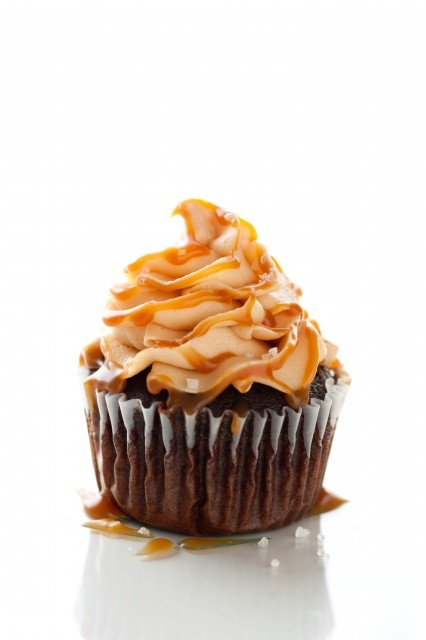 chocolate cupcake with salted caramel frosting