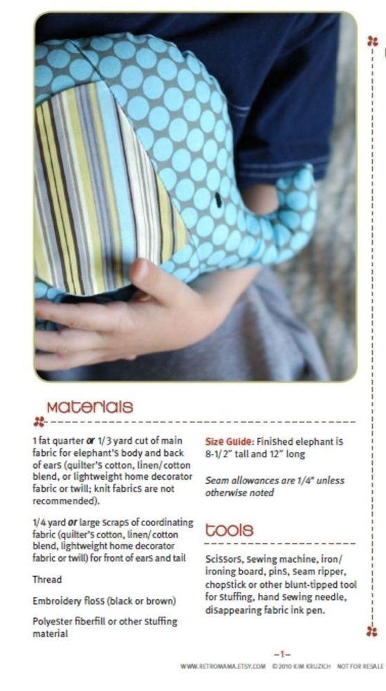 Stuffed Animal Pattern  PDF Sewing Pattern Tilly and by retromama, $8.00