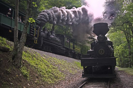 Cass Scenic Railroad #5 pushes hard towards Whittaker as Shay #4 sits before heading on down to Cass, West Virginia.