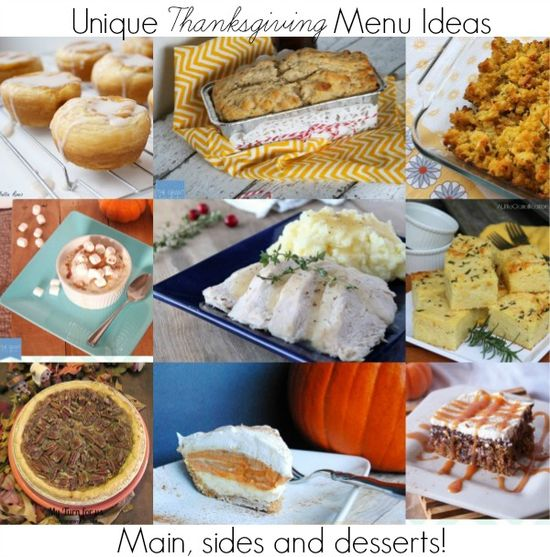 Unique Thanksgiving Menu Ideas to try this year.  Spice up your Thanksgiving meal with a new easy homemade recipe!  #thanksgiving #recipes #cooking