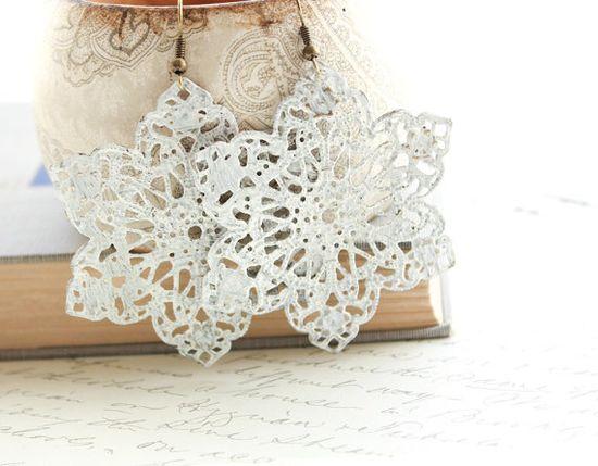 Snowflake Earrings, Lace Doily Patina Earrings, Patina Jewelry, Shabby Chic, Filigree Dangle Drop, Long Large Earrings, Painted Patina