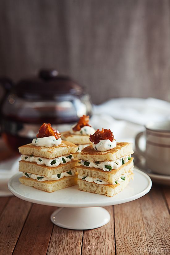 pancake layers with chive cream cheese and bacon. by pepper.ph.