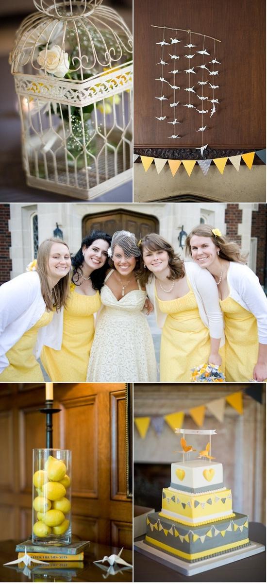 yellow & grey wedding