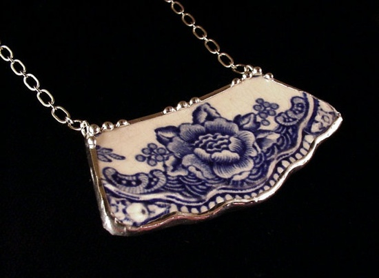 Blue Transferware Floral Toile Broken china jewelry necklace