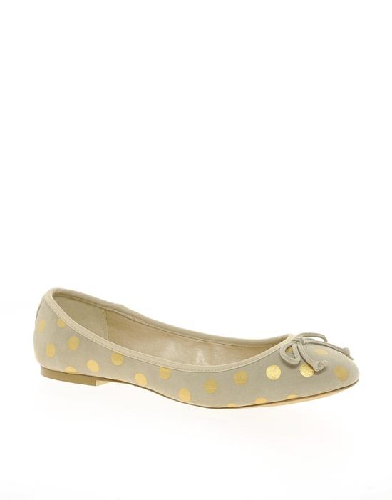 gold polka-dot flats