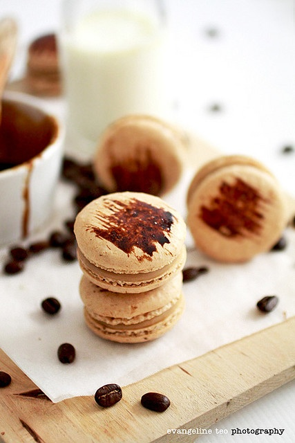 Delectable little Coffee Macrons with White Chocolate Coffee Ganache. #coffee #chocolate #cookies #pastries #French #food #dessert #baking