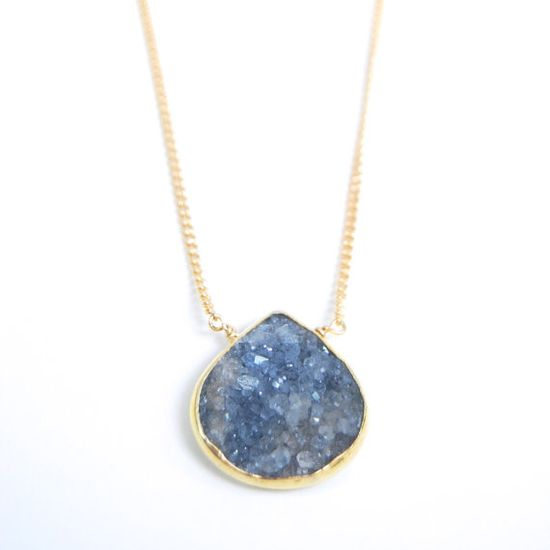 Ho'ola'i necklace blue grey druzy gold necklace by kealohajewelry