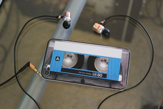 Blue Cassette Decal for iPhone 4 and 4S by bipbopshop on Etsy, $10.00