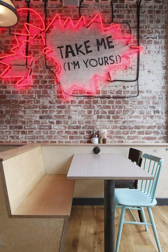 Pink Neon in London Restaurant Chooks Designed by Central Design Studio