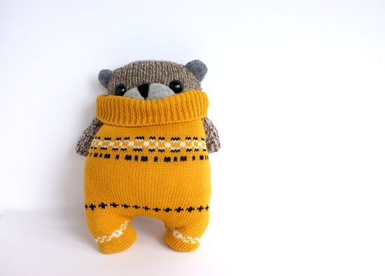 Little SockBear, mustard sweater. $25.00