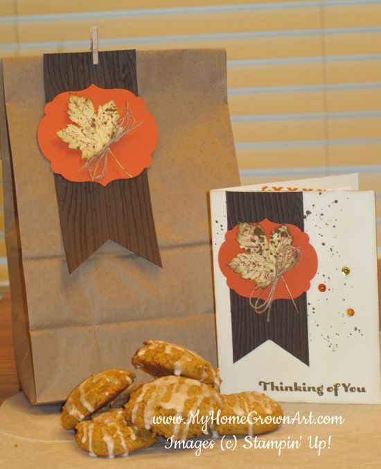 Handmade gift bag with matching card and delicious pumpkin spice cookies!