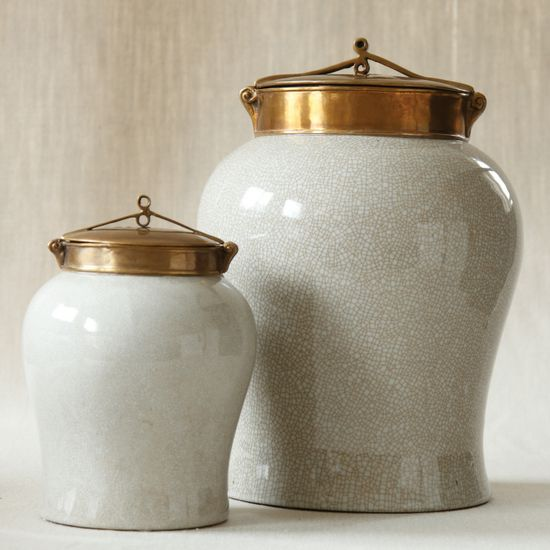 Jars, Artisan White Porcelain & Bronze, classic decorative accents, over 3,000 beautiful limited production interior design inspirations inc, furniture, lighting, mirrors, tabletop accents and gift ideas to enjoy pin and share at InStyle Decor Beverly Hills Hollywood Luxury Home Decor enjoy & happy pinning