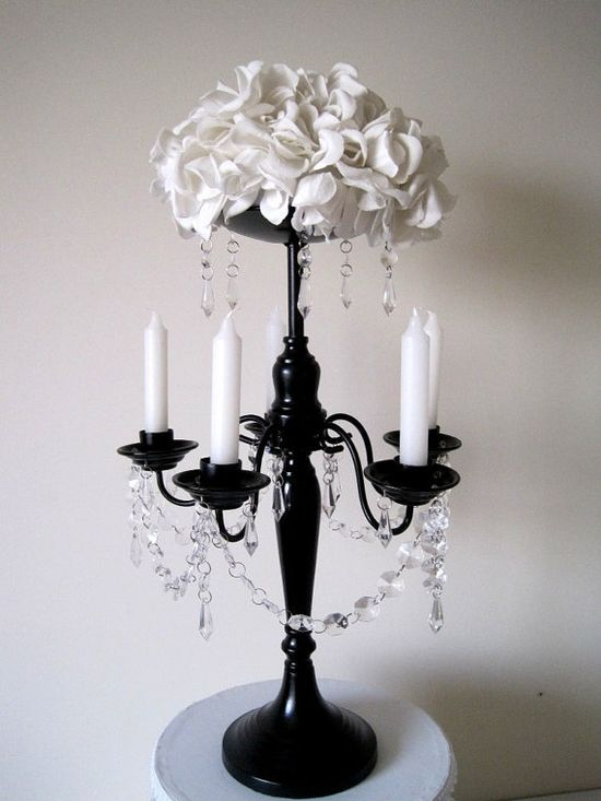 Black and White Wedding Centerpiece Black Candelabra With White Roses.