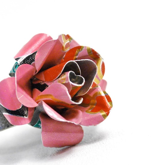 Recycled Jewelry Pink Rose Ring From Upcycled Aluminum by wearwolf, $15.00