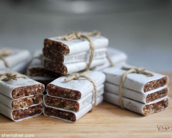 DIY Lara Bars by sherisilver as adapted from foodie with Family: Made with almonds, dark chocolate, dates, unsweetened cherries and nut butter. #Lara_Bars #sherisilver