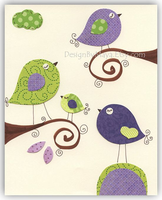 Nursery wall art Baby girl Room Decor birdsViolet by DesignByMaya, $17.00