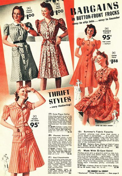 Oh what I wouldn't give to find these charming 40s dress at such rock bottom prices! #vintage #fashion #1940s #catalog
