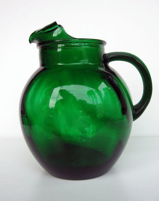 #Emerald #green #glass #pitcher.