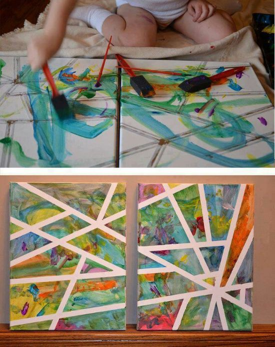 Have two canvas's on newspaper. Put painters tape in random places and spots on the canvas and let the baby or anyone, do the painting with paint sponges! When it dries, take the tape off and have a look at your masterpiece!